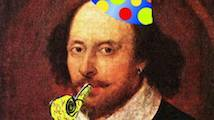 Shakespear, birthday hat and horn