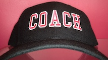 pink and black baseball coach cap